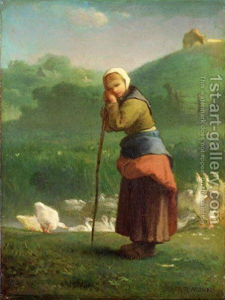 The Goose Girl at Gruchy, 1854-56 by Jean-Francois Millet - Reproduction Oil Painting