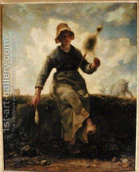 The Spinner, Goatherd of the Auvergne, 1868-69 by Jean-Francois Millet - Reproduction Oil Painting
