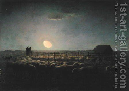 The Sheepfold, Moonlight, 1856-60 by Jean-Francois Millet - Reproduction Oil Painting