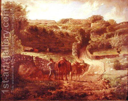 The Cousin Hamlet at Greville, c.1865-73 by Jean-Francois Millet - Reproduction Oil Painting