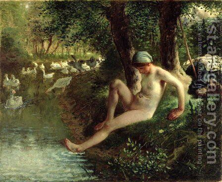 The Bather, 1863 by Jean-Francois Millet - Reproduction Oil Painting