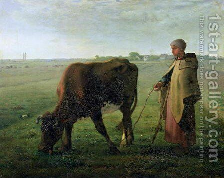 Woman Grazing her Cow, 1858 by Jean-Francois Millet - Reproduction Oil Painting