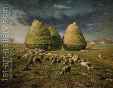Haystacks, Autumn, 1873-74 by Jean-Francois Millet - Reproduction Oil Painting