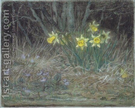 Narcissi and Violets, c.1867 by Jean-Francois Millet - Reproduction Oil Painting