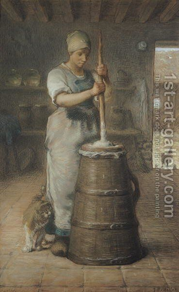 Churning Butter, 1866-68 by Jean-Francois Millet - Reproduction Oil Painting