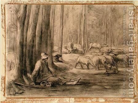 The drinking place in the forest by Jean-Francois Millet - Reproduction Oil Painting