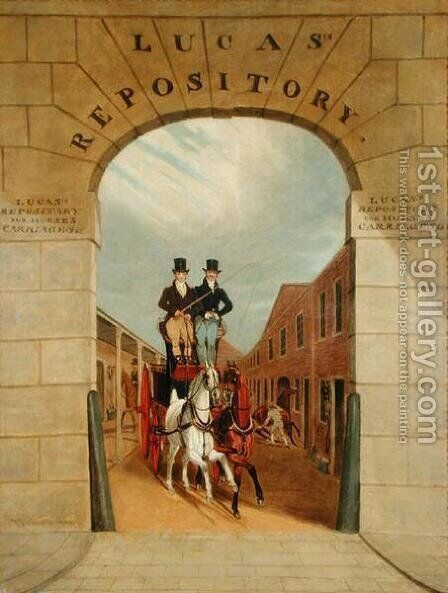 Schooling a Pair in a Brake at Lucas's Yard, Clerkenwell by James Pollard - Reproduction Oil Painting