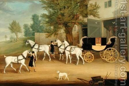 John Smith Barry's Private Drag and Grey Team at Marbury Hall, Cheshire by James Pollard - Reproduction Oil Painting