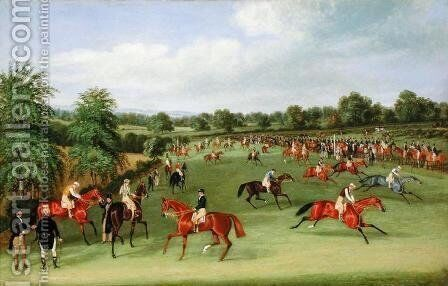 Epsom Races: Preparing to Start by James Pollard - Reproduction Oil Painting