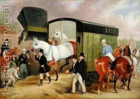 The Derby Pets- The Arrival, 1842 by James Pollard - Reproduction Oil Painting