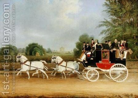 The London-Farringdon Coach Passing Buckland House, Berkshire by James Pollard - Reproduction Oil Painting