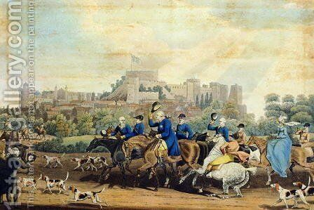 George III (1738-1820) Returning from Hunting, engraved by M. Dubourg, 1820 by James Pollard - Reproduction Oil Painting