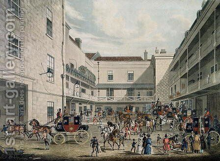 Royal Mail Coaches leaving The Swan with Two Necks Inn, Lad Lane by James Pollard - Reproduction Oil Painting