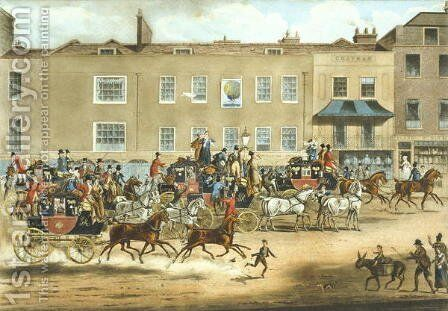 North Country Mails at The Peakcock, Islington by James Pollard - Reproduction Oil Painting
