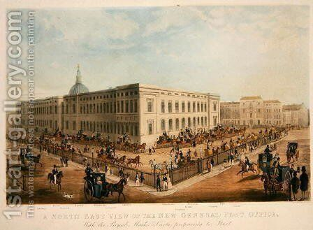 North East view of the New General Post Office by James Pollard - Reproduction Oil Painting