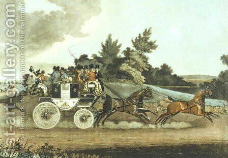 Stage Coach and Opposition Coach in Sight by James Pollard - Reproduction Oil Painting