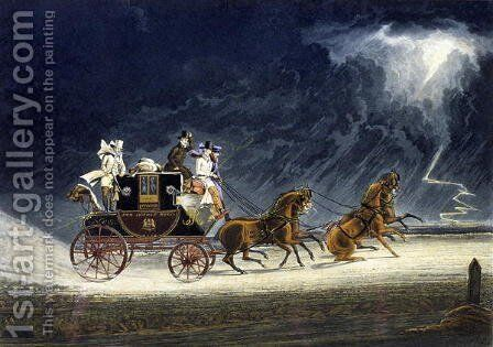 The Mail Coach in a Thunderstorm by James Pollard - Reproduction Oil Painting