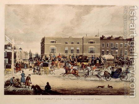 The Elephant and Castle on the Brighton Road, 1826 by James Pollard - Reproduction Oil Painting