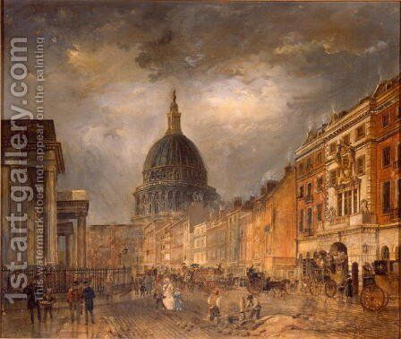St Martin's le Grand, London, showing the General Post Office and the Bull and Mouth Inn, c.1840 by James Pollard - Reproduction Oil Painting