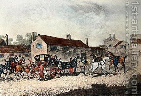 The Mail Coach Changing Horses, engraved by R. Havell, 1815 by James Pollard - Reproduction Oil Painting