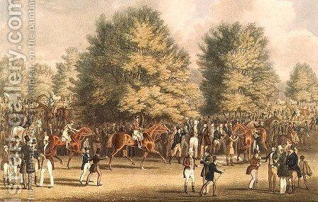 Epsom, Saddling in the Warren by James Pollard - Reproduction Oil Painting