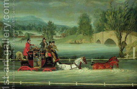 A Royal Mail Coach on a flooded road by James Pollard - Reproduction Oil Painting