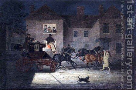 The Lioness attacking the Exeter Mail by James Pollard - Reproduction Oil Painting