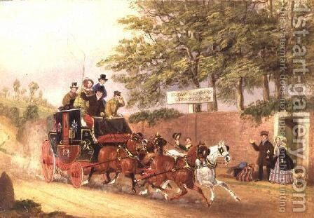 A Mail coach passing travellers on a road by James Pollard - Reproduction Oil Painting