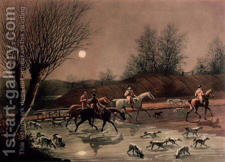 Returning home by moonlight by James Pollard - Reproduction Oil Painting