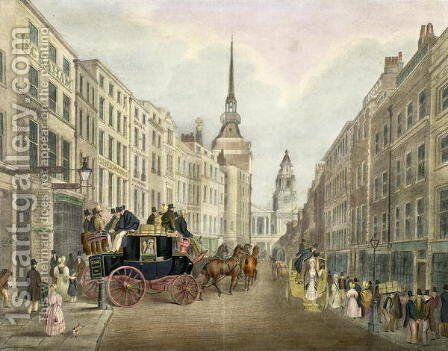 The Cambridge Coach Leaving Belle Sauvage Yard, Ludgate Hill by James Pollard - Reproduction Oil Painting