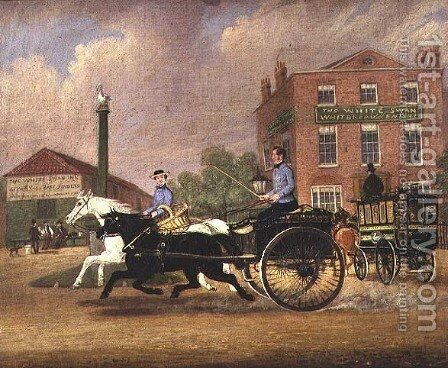 The Omnibus, Livery and Bait Stables at the White Swan Inn, Upper Clapton, 1853 by James Pollard - Reproduction Oil Painting