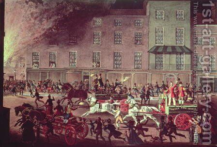 London Fire Engines, c. 1830 by James Pollard - Reproduction Oil Painting
