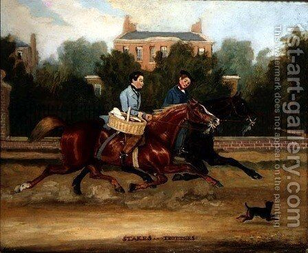 Stakes and Trotters, 1843 by James Pollard - Reproduction Oil Painting