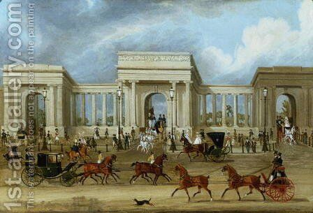 Hyde Park Corner by James Pollard - Reproduction Oil Painting