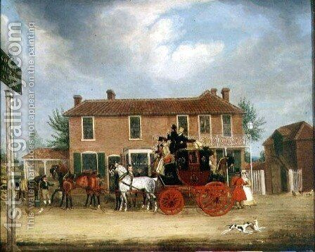 The Norwich to London Mail at the Coach and Horses, Ilford by James Pollard - Reproduction Oil Painting