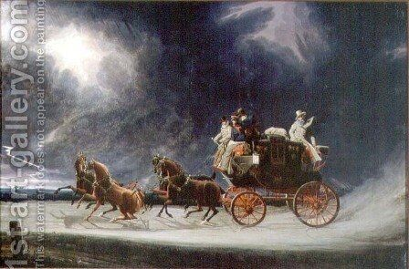 The Norwich Mail Coach in a Thunderstorm on Newmarket Heath by James Pollard - Reproduction Oil Painting