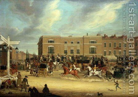 The Elephant and Castle on the Brighton Road, 1826 2 by James Pollard - Reproduction Oil Painting