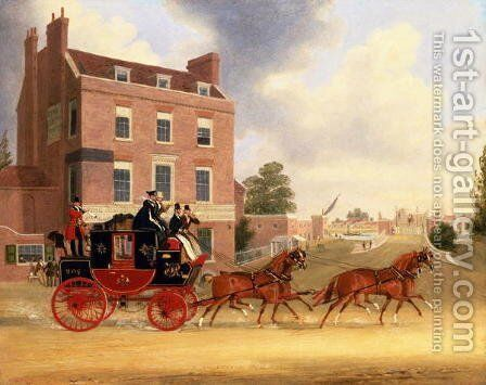 Quicksilver Royal Mail passing the Star and Garter at Kew Bridge, 1835 2 by James Pollard - Reproduction Oil Painting