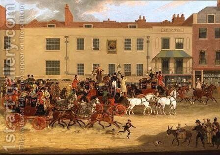 The North Country Mails at the Peacock, Islington, 1821 by James Pollard - Reproduction Oil Painting