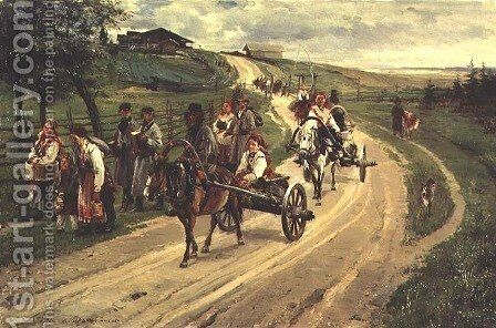 Return from the Fair, 1883 by Illarion Mikhailovich Prianishnikov - Reproduction Oil Painting