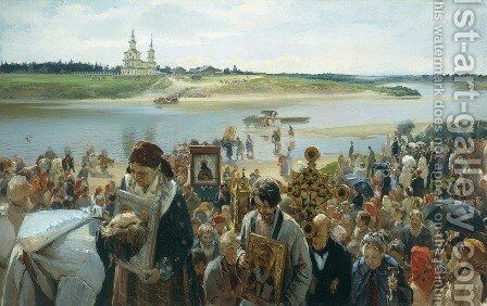 A Religious Procession by Illarion Mikhailovich Prianishnikov - Reproduction Oil Painting