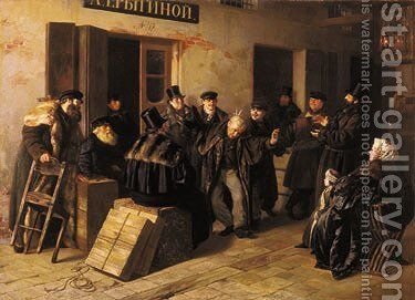 Jokers. Gostiny Dvor in Moscow, (1865) by Illarion Mikhailovich Prianishnikov - Reproduction Oil Painting