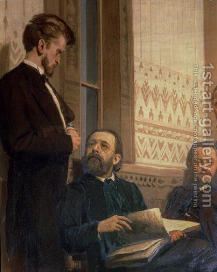 Eduard Frantsovitch Napravnik (1839-1916) and Bedrich Smetana (1824-84), from Slavonic Composers, 1890s by Ilya Efimovich Efimovich Repin - Reproduction Oil Painting