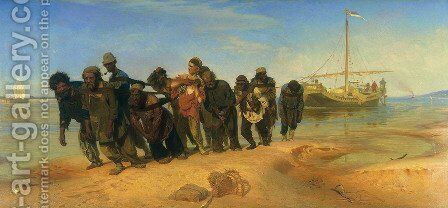 Barge Haulers on the Volga by Ilya Efimovich Efimovich Repin - Reproduction Oil Painting