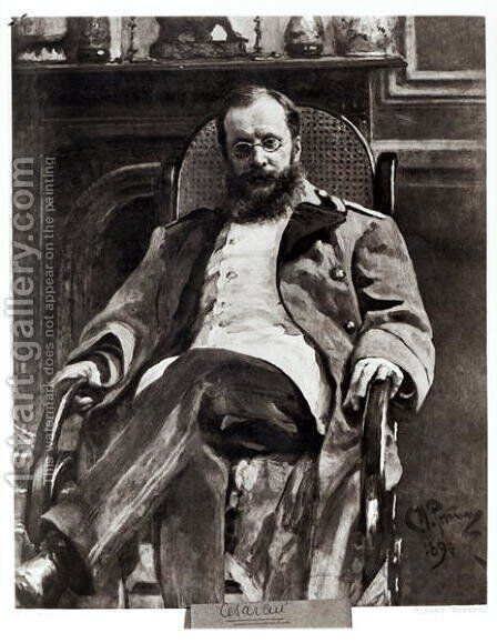 Portrait of Cesar Cui (1835-1918) 1890 by Ilya Efimovich Efimovich Repin - Reproduction Oil Painting
