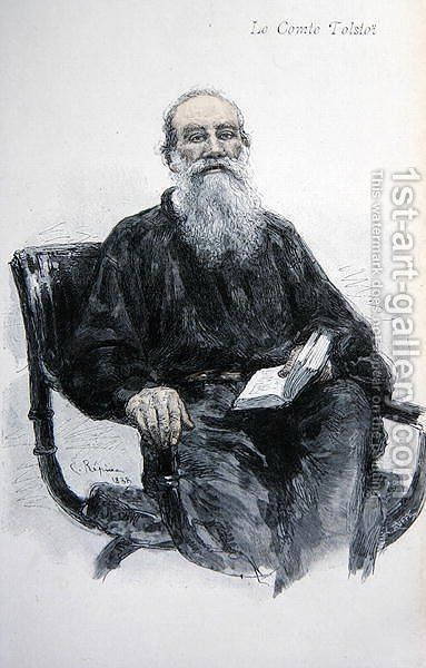 Lev Nikolaevich Tolstoy (1828-1910), 1888 by Ilya Efimovich Efimovich Repin - Reproduction Oil Painting
