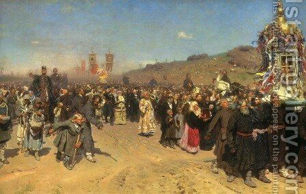 A Religious Procession in the Province of Kursk, 1880-83 by Ilya Efimovich Efimovich Repin - Reproduction Oil Painting