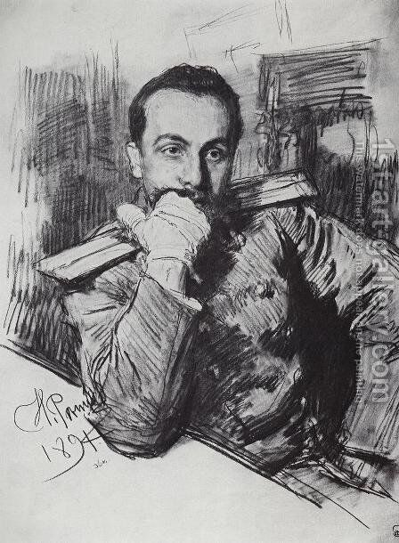 Portrait of writer Alexander Zhirkevich 1894 by Ilya Efimovich Efimovich Repin - Reproduction Oil Painting
