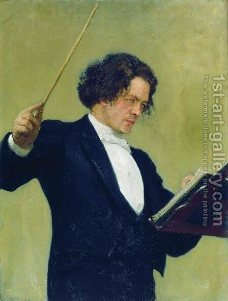 Anton Rubinstein by Ilya Efimovich Efimovich Repin - Reproduction Oil Painting