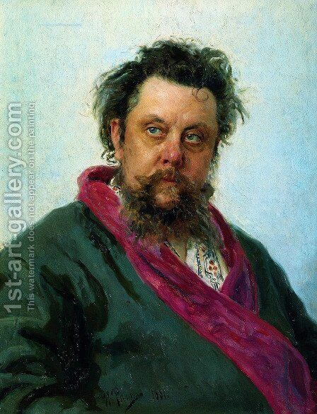 Composer Modest Mussorgsky by Ilya Efimovich Efimovich Repin - Reproduction Oil Painting